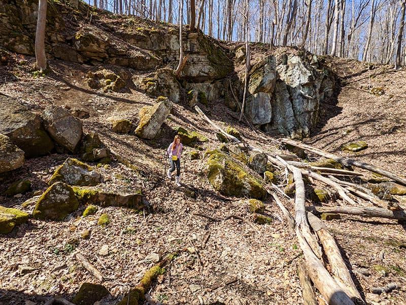 A limestone quarry along Mary Ann's Creek near the abandoned limestone kilns.