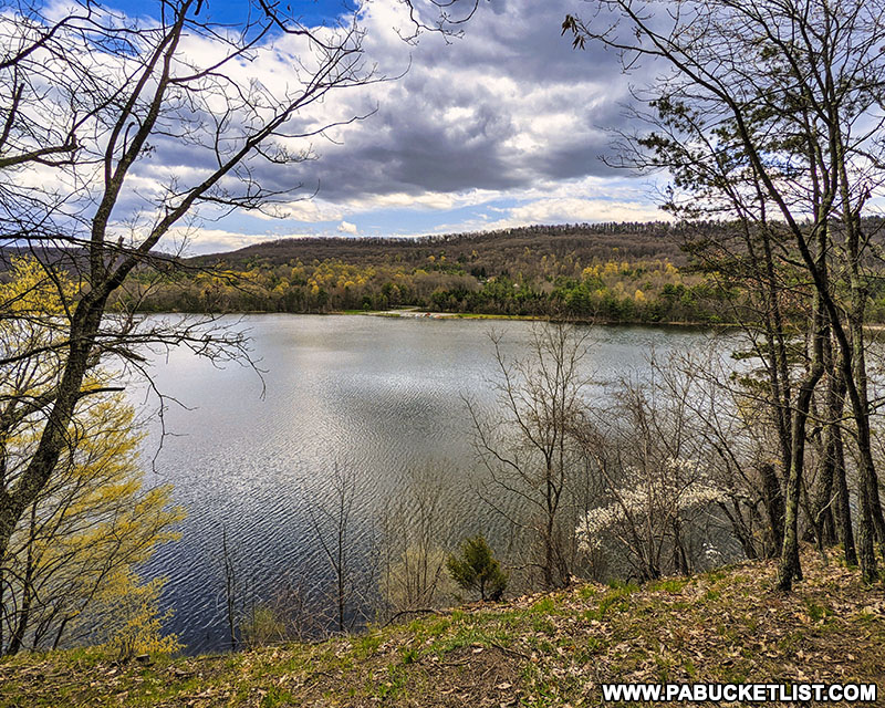 A springtime scene from the Colyer Lake Trail near State College.