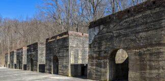 The abandoned Blair Limestone Company kilns at Canoe Creek State Park.