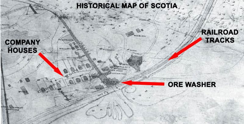 A historical map of Scotia in Centre County.