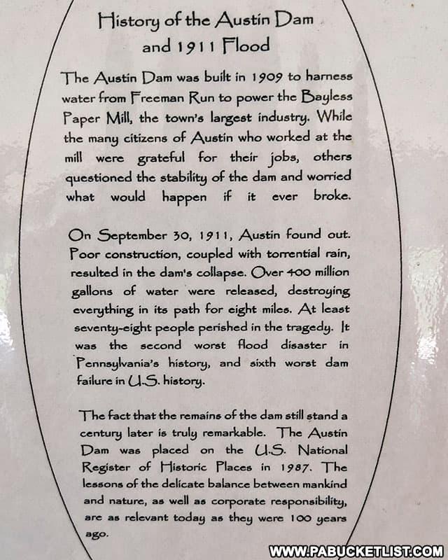 History of the Austin Dam Flood on display at the Austin Dam Memorial Park.