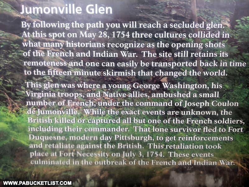 Jumonville Glen interpretive sign in Fayette County PA
