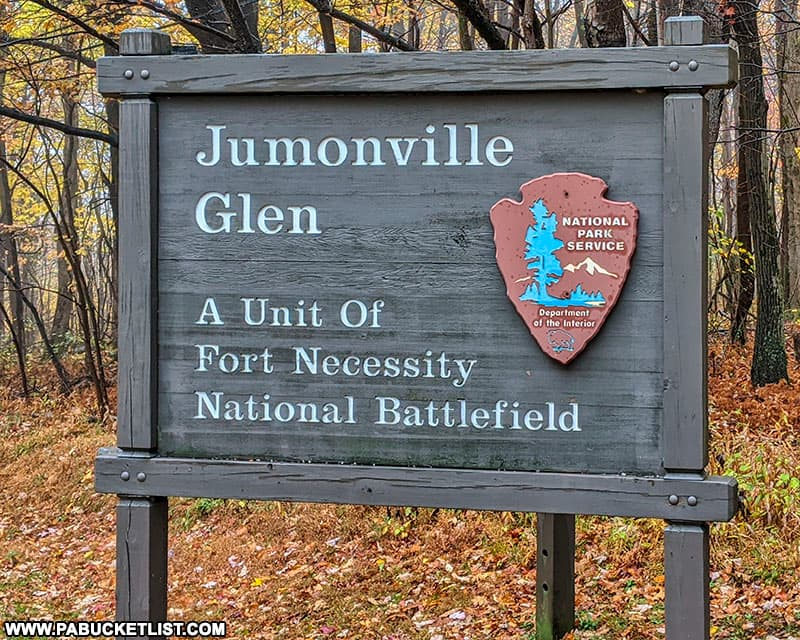 Jumonville Glen National Park Service sign in Fayette County PA