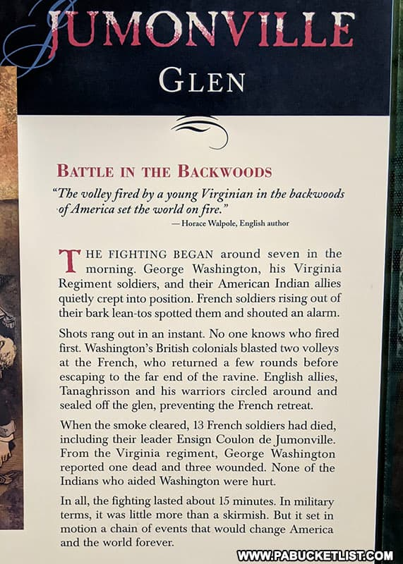 Story of the battle at Jumonville Glen in Fayette County PA
