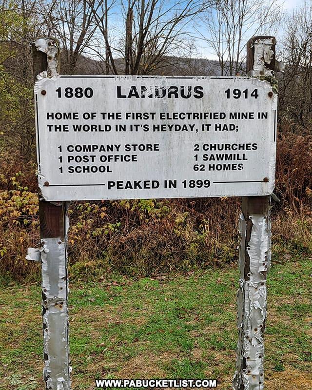 Landrus HIstorical Sign near Landrus Road in Tioga County.