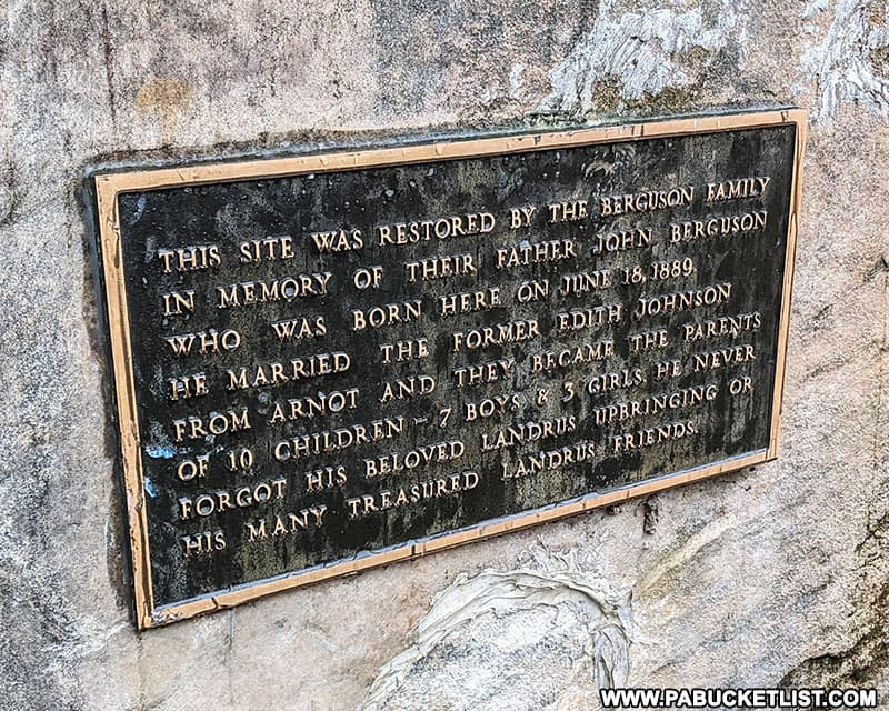 Historical plaque at the site of the ghost town of Landrus in Tioga County.