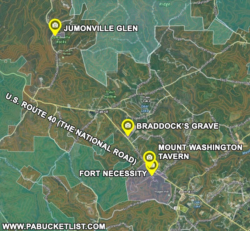 A map to Fort Necessity and nearby historical sites related to the French and Indian War.
