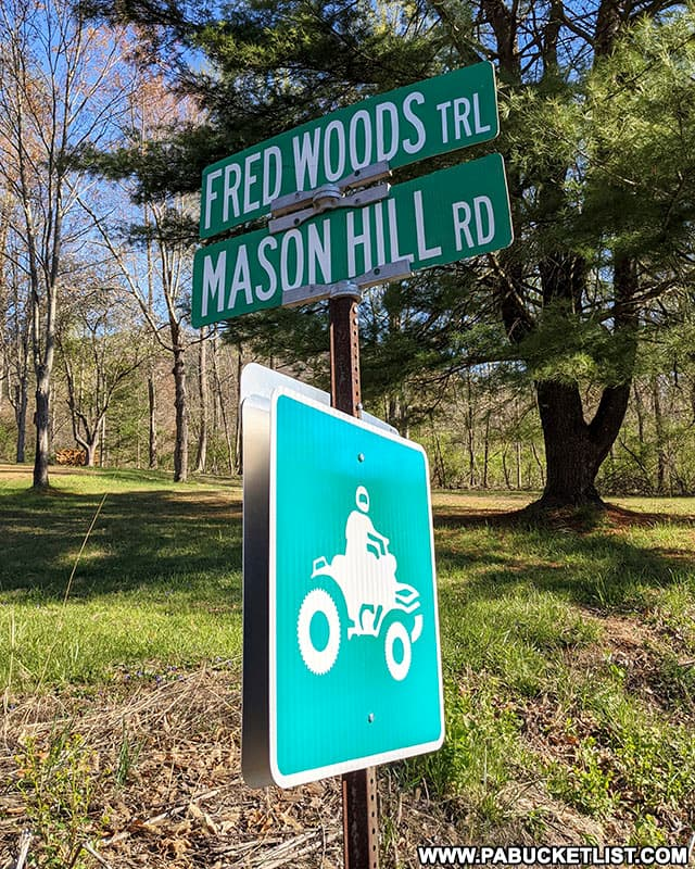 The Mason Hill Road sign along Route 555 in Driftwood Pennsylvania