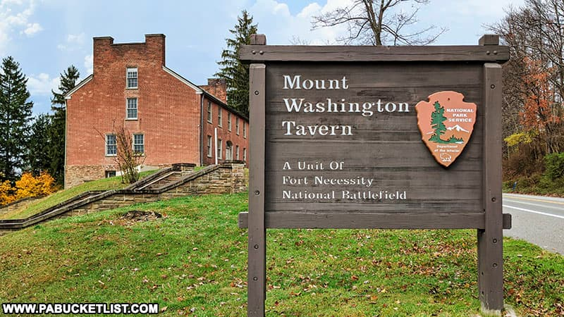 Mount Washington Tavern sign along Route 40 in Fayette County PA.