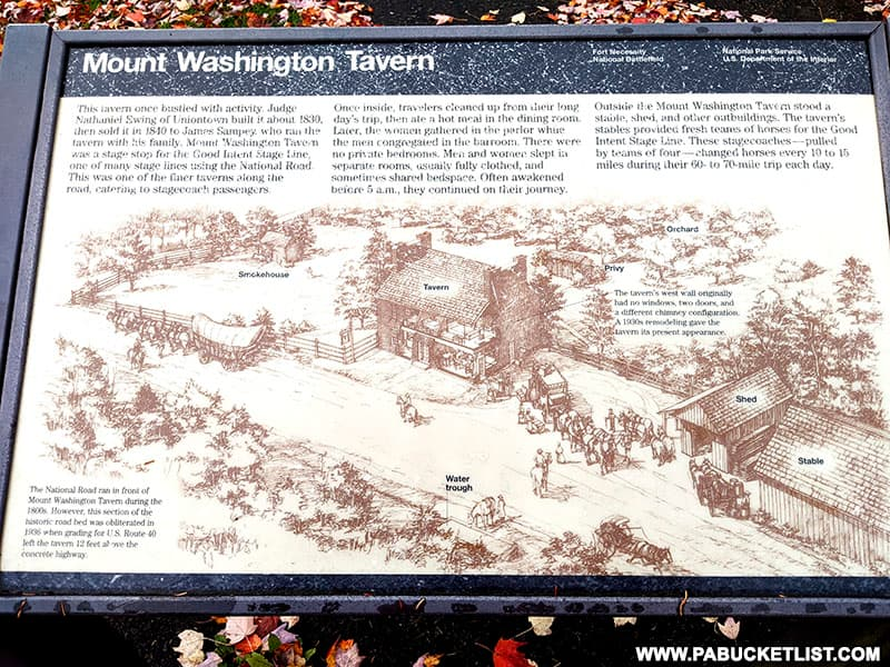 Mount Washington Tavern interpretive sign.