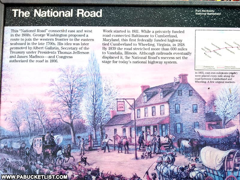 Interpretive display about the National Road near the Mount Washington Tavern in Fayette County PA
