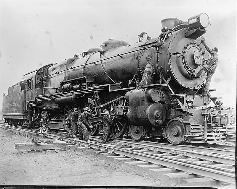 A steam engine used to transport iron ore.
