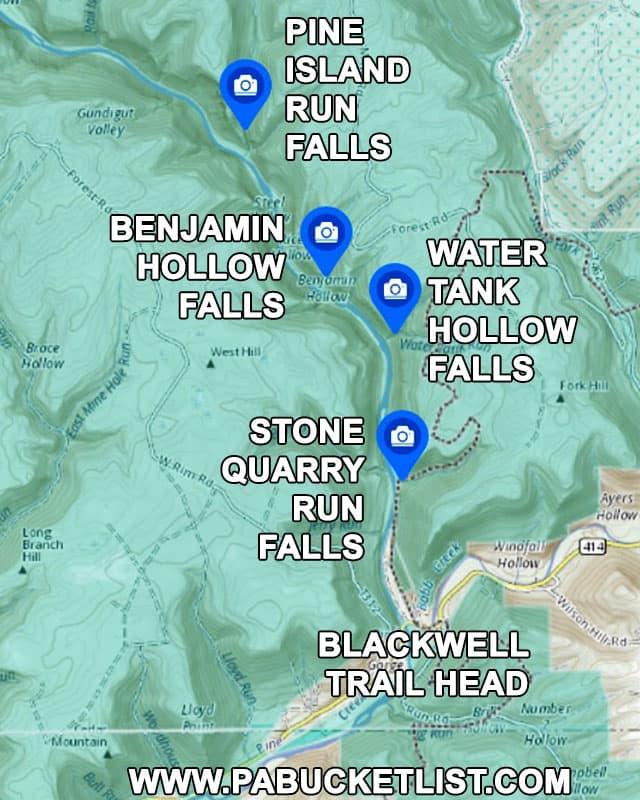 A map to Pine Island Run Falls in Tioga County Pennsylvania