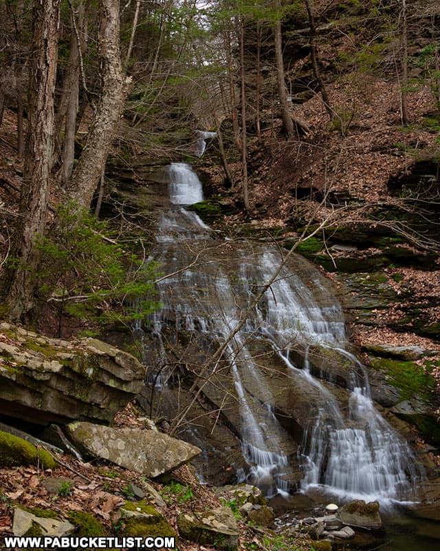 First view of Pine Island Run Falls as you approach from the Pine Creek Rail Trail.