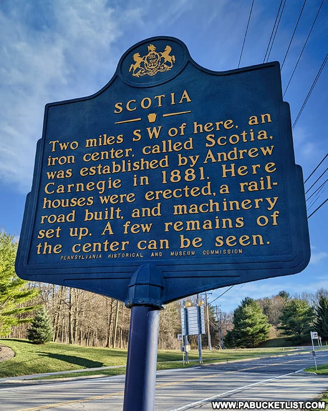 A historical marker near the ghost town of Scotia.