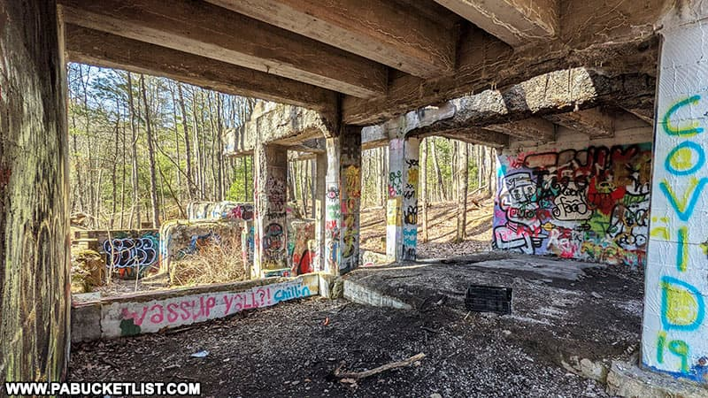 The heavily-graffitied remains of the Scotia ore washer near State College.