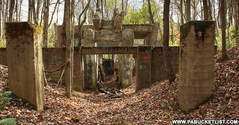 The concrete base of the ore washer is one of the few reminders of the ghost town of Scotia near State College.