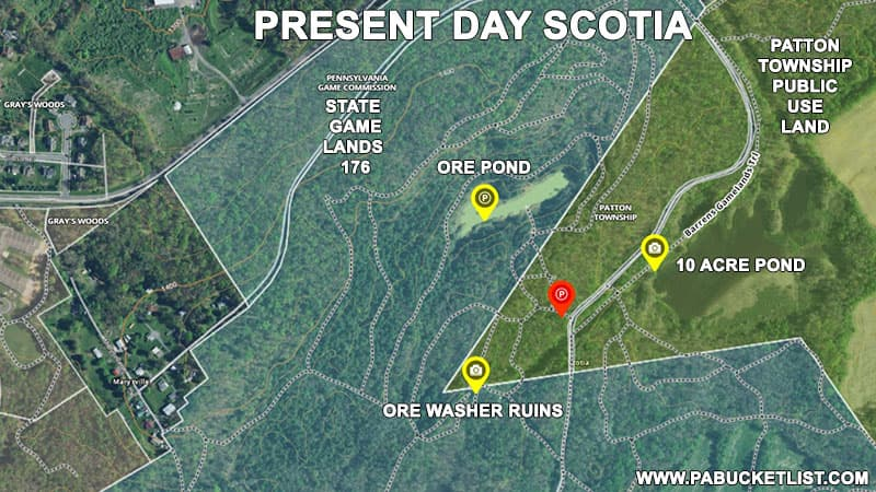 A map of present-day Scotia near State College Pennsylvania.