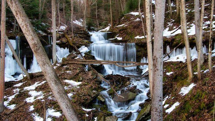 Stone Quarry Run Falls along the Pine Creek Rail Trail in Tioga County Pennsylvania.