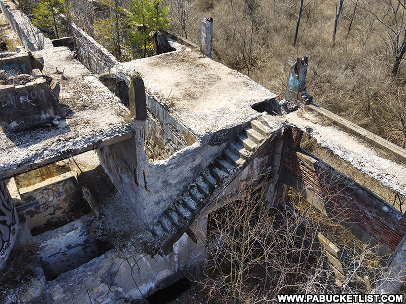 Remnants of the Bayless Pulp and Paper Mill in Potter County.