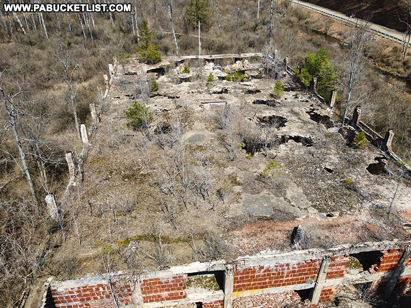 Roof of the abandoned Bayless Paper Mill at Austin Dam Memorial Park.