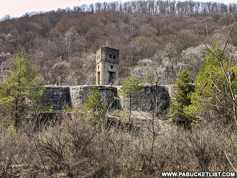 View of the abandoned Bayless Paper Mill from Route 872.
