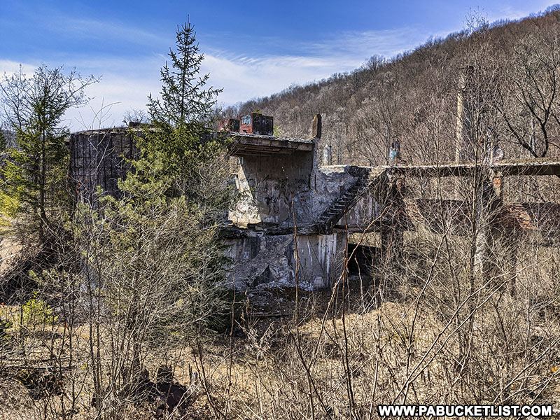 One of the abandoned buildings at the ruins of the Bayless Paper Mill in Potter County.