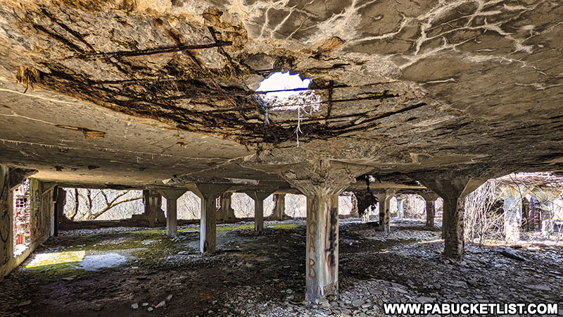 The deteriorating roof of the abandoned Bayless Paper Mill in Potter County, PA.