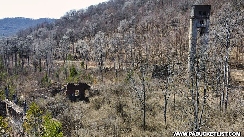 Looking out over the remains of the abandoned Bayless Paper Mill at Austin Dam Memorial Park.