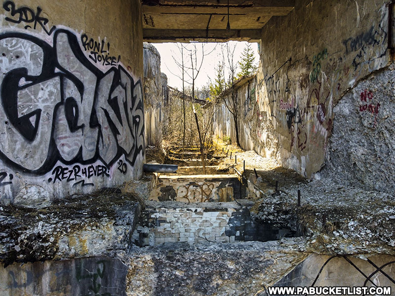 Graffiti on the walls of the abandoned Bayless Paper Mill in Potter County.