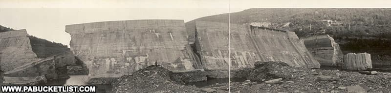 The Austin Dam in Potter County PA soon after it failed in 1911