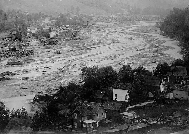 The village of Austin in Potter County after the flood in 1911.