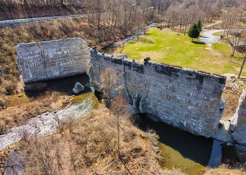 Ruins of the Bayless Paper Mill Dam in Austin, Pennsylvania.