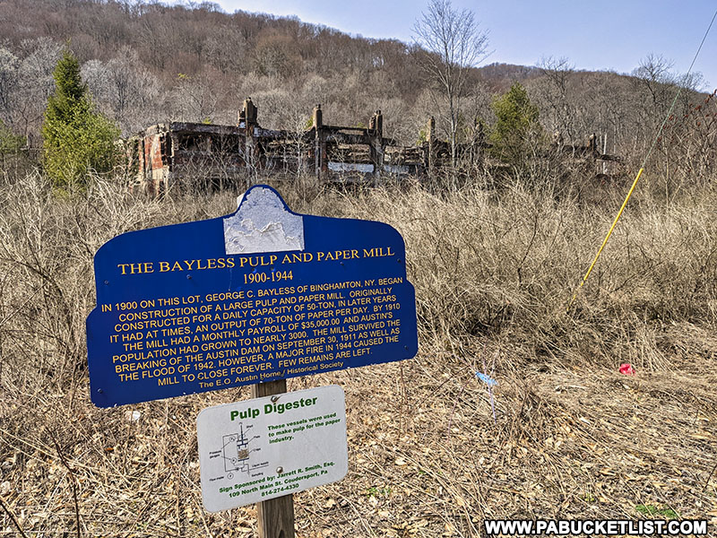 Bayless Paper Mill Historical SIgn along Route 872 in Potter County Pennsylvania.