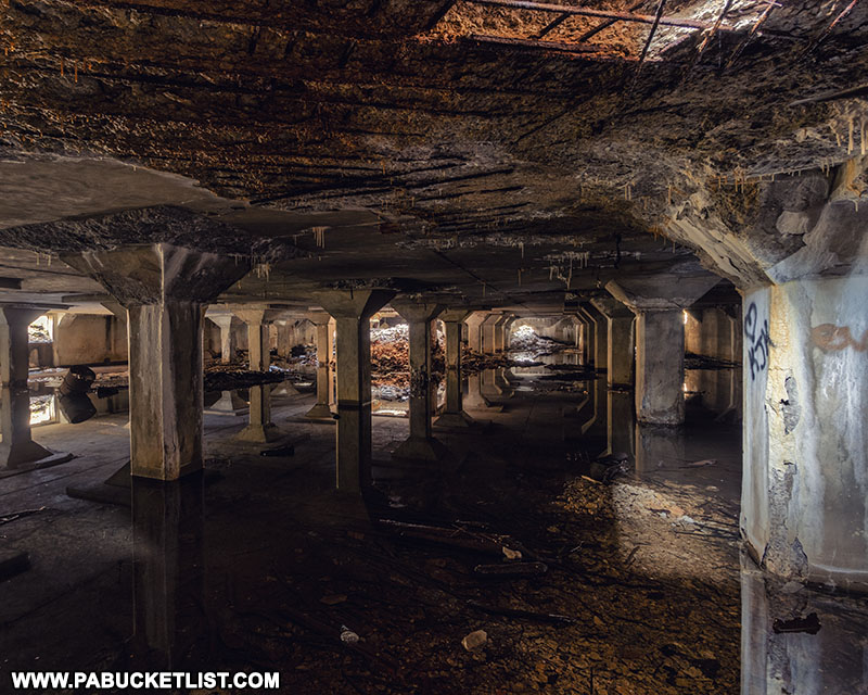 Basement of the abandoned Bayless Paper Mill ruins in Potter County.