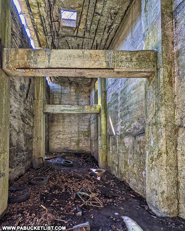 Inside one of the structures at the abandoned Bayless Paper Mill in Austin, Pennsylvania.