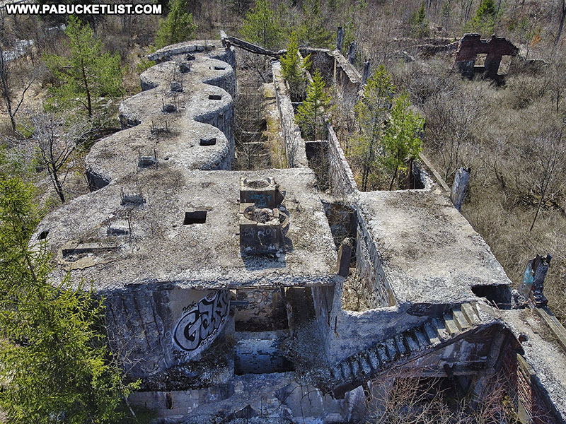 Looking down on the ruins of the Bayless Paper Mill in Potter County.