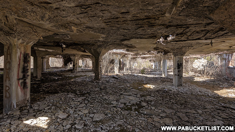 Second floor of the abandoned Bayless Paper Mill ruins.
