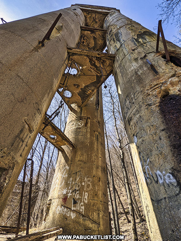 View from the bottom of the abandoned Bayless Paper Mill Tower in Potter County PA