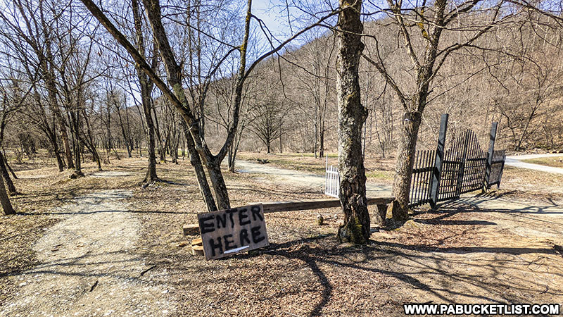 The Bayless Paper Mill trail head at Austin Dam Memorial Park in Potter County Pennsylvania.