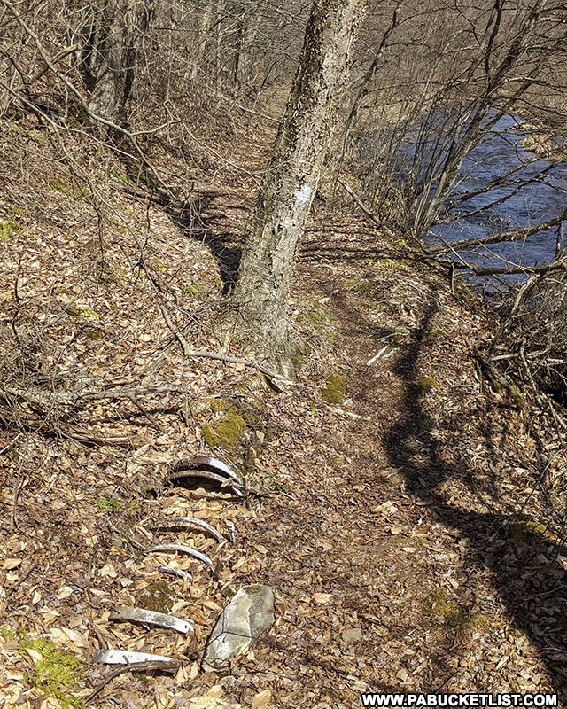 Remains of a pipe that conducted water from the Austin Dam to the Bayless Paper Mill downstream.