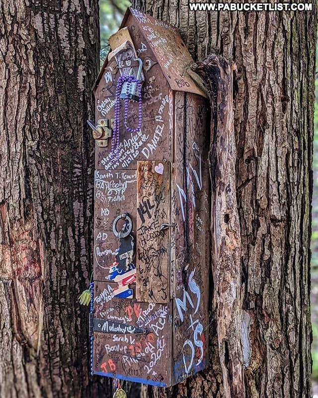 Trail register at the Bradford Falls Trail parking lot.