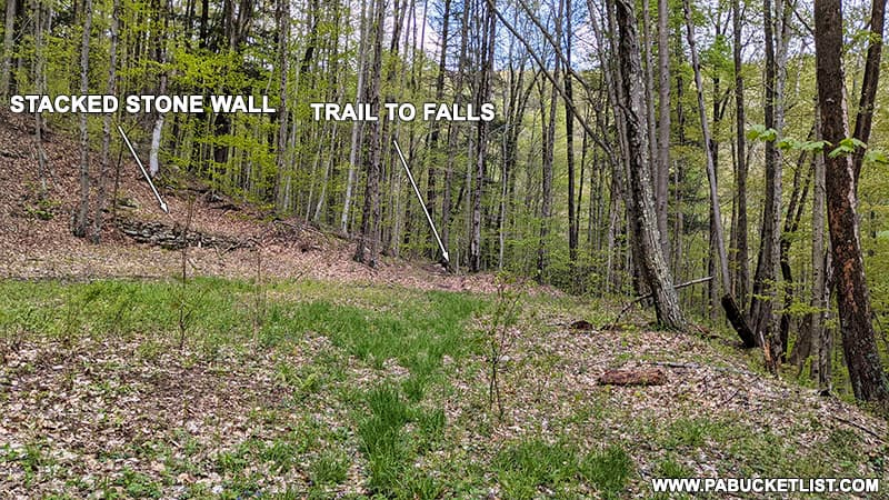 A stacked-stone wall landmark near the midpoint of the Bradford Falls Trail in Bradford County.
