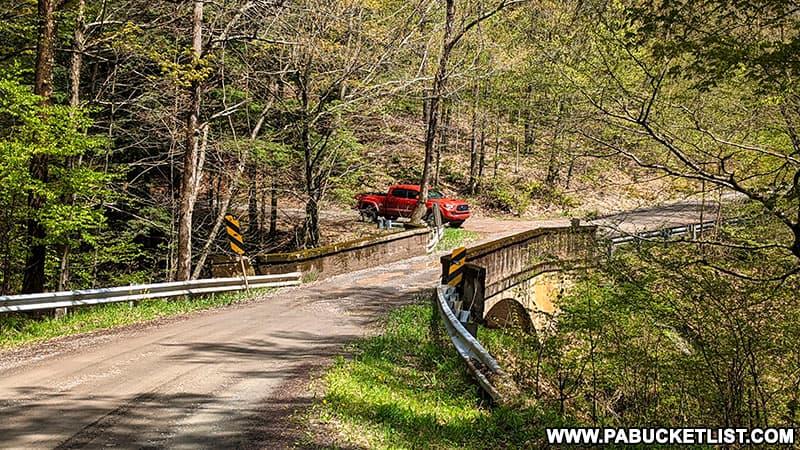 The single-lane bridge over Falls Creek along Schrader Creek Road in Bradford County.