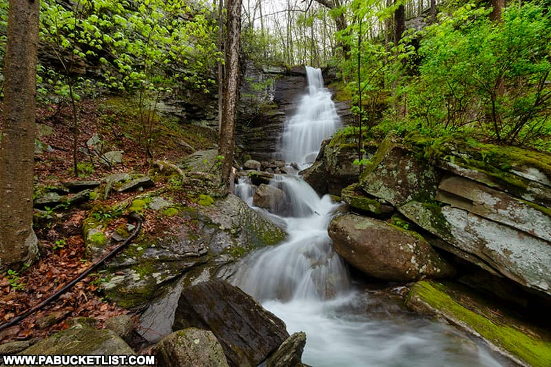 Deep Hollow Falls is 250 yards upstream from Deep Hollow Road in Bradford County.