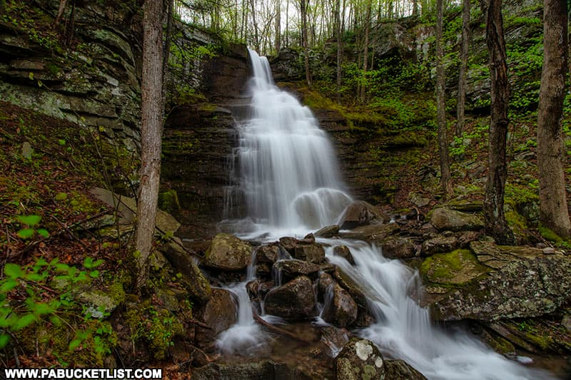 Deep Hollow Falls in Bradford County is approximately 20 feet tall.