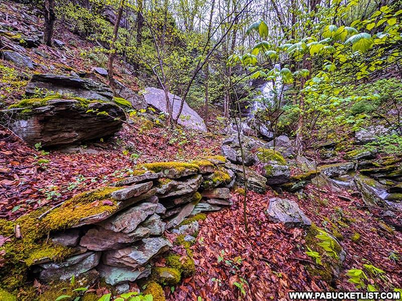Retaining wall along the Deep Hollow Falls TRail in Bradford County Pennsylvania