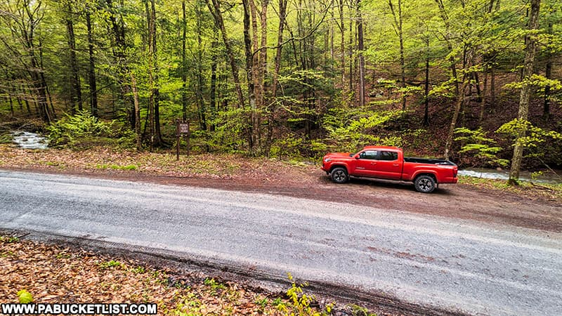 Deep Hollow Falls parking on State Game Lands 36 in Bradford County Pennsylvania.