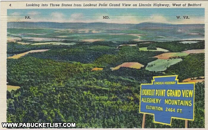 The three states visible from Grand View Point along the Lincoln Highway in Bedford County Pennsylvania.