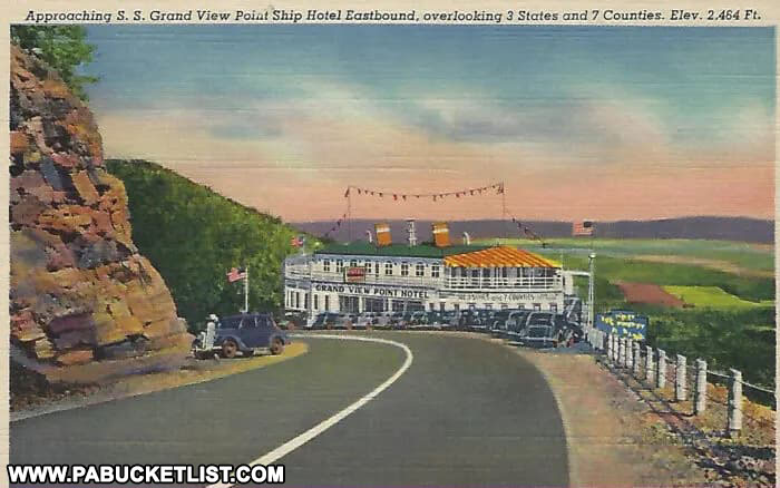 The Grand View Point Hotel as viewed from the west along the Old Lincoln Highway.